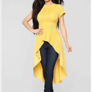 Fashion Nova Mustard High Low Top